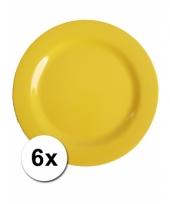 6 gele camping bordjes 25 cm