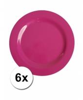 6 roze camping bordjes 20 cm
