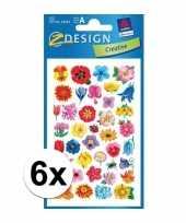 6 vellen met bloemen stickers
