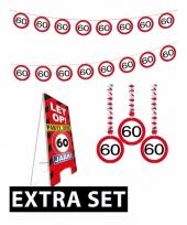 60ste verjaardag versiering pakket verkeersbord extra