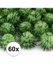 60x appelgroene decoratie pompons 20 mm