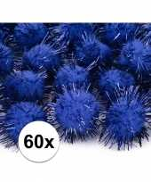 60x kobalt blauwe decoratie pompons 20 mm