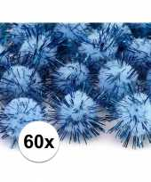 60x lichtblauw decoratie pompons 20 mm