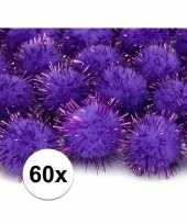 60x paarse decoratie pompons 20 mm