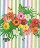 60x papieren servetjes zomerse bloemen en vlinders print 33 x 33 cm