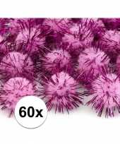 60x roze decoratie pompons 20 mm