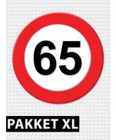 65 jaar verkeersbord versiering xl pakket