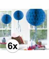6x decoratiebollen blauw 30 cm