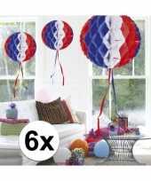 6x decoratiebollen in amerikaanse kleuren