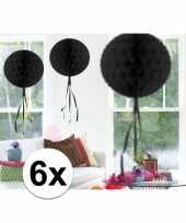 6x decoratiebollen zwart 30 cm
