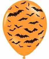 6x halloween decoratie ballon matoranje met zwarte vleermuisprint 30 cm