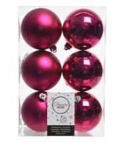 6x kerstboom ballen fuchsia roze 8 cm
