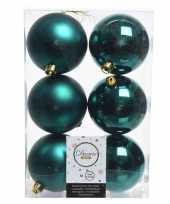 6x kerstboom ballen smaragd groen 8 cm