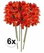 6x oranje gerbera 47 cm kunstplant steelbloem