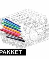 6x pasen kleurplaten placemats met stiften