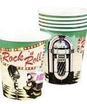 6x rock en roll thema bekertjes 250 ml
