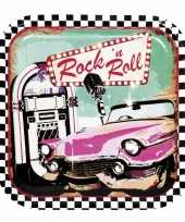 6x rock en roll thema bordjes 23 cm