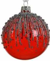 6x transparante kerstballen met strepen rood 8 cm