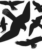 6x vogel afweer raamstickers zwart 30 x 30 cm