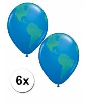 6x wereldbol aarde ballon 40 cm