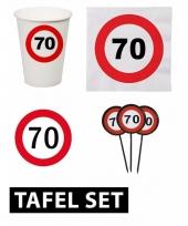 70ste verjaardag tafeldecoratie versiering pakket verkeersbord