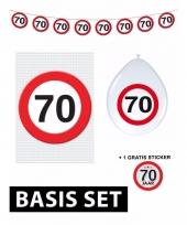 70ste verjaardag versiering pakket verkeersbord basic