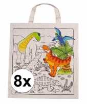 8 stuks inkleurbaar tasjes met dinosaurus motief
