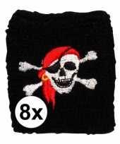8 stuks piraat zweetbandje met schedel