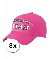 8 x vrijgezellenfeest caps roze voor dames