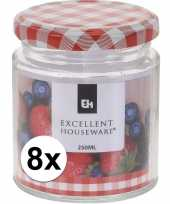 8x bewaar pot 250 ml met draaideksel
