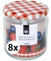 8x bewaar pot 350 ml met draaideksel