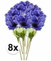 8x blauwe anemoon 47 cm kunstplant steelbloem
