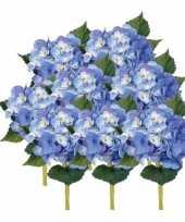 8x blauwe kunst hortensia kunstbloemen 48 cm