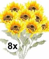 8x gele zonnebloem 82 cm kunstplant steelbloem