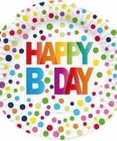 8x happy birthday feestbordjes 23 cm