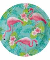 8x hawaii thema bordjes flamingo 23 cm