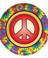 8x hippie themafeest bordjes 22 cm