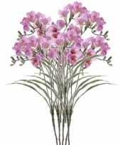 8x kunstbloem tak freesia lila 63 cm