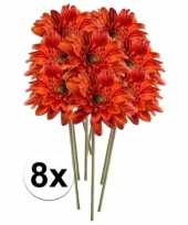 8x oranje gerbera 47 cm kunstplant steelbloem