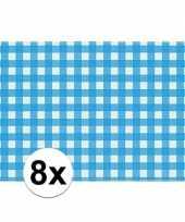 8x placemats blauw wit geblokt 43 x 30 cm
