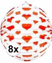 8x ronde rood witte bollampion met hartjes