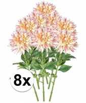 8x roze dahlia 70 cm kunstplant takken