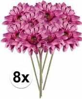 8x roze gerbera 47 cm kunstplant steelbloem