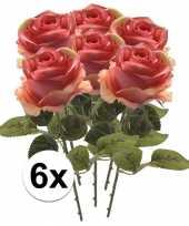 8x roze roos 45 cm kunstplant steelbloem 10103034