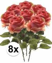8x roze roos 45 cm kunstplant steelbloem