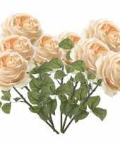 8x rozen kunstbloem perzik 66 cm