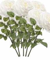 8x rozen kunstbloem wit 66 cm
