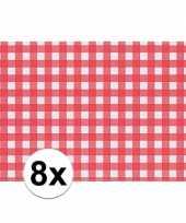 8x tafelmatje rood wit geblokt 43 x 30 cm