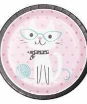 8x thema bordjes katten 23 cm