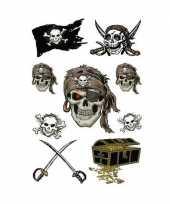 9x piraten stickertjes met glitters